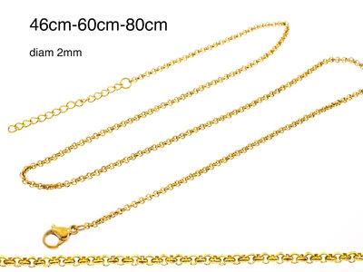Edelstaal fijne ketting voor hangers verguld met geel goud ADELINE (3 lengtes)