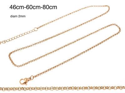 Edelstaal fijne ketting voor hangers verguld met rosé goud ADELINE (3 lengtes)