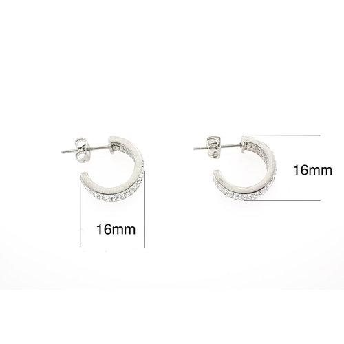 Boucles d'oreilles acier avec cristaux PAMELA