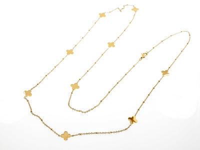 Edelstaal lange fijne halsketting verguld met geel goud SUSAN
