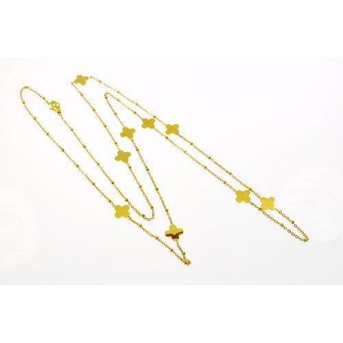 Collier long acier avec placage or jaune SUSAN