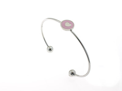Bracelet rigide fin acier avec coeur rose KATIE