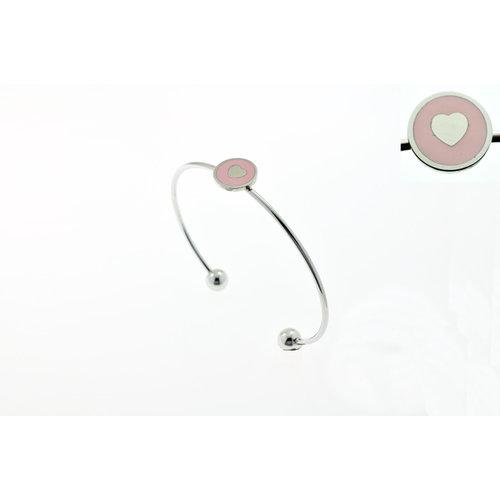 Edelstaal vaste fijne armband met roze hartje KATIE