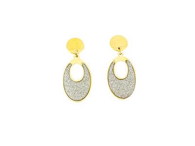 Boucles d'oreilles acier avec granité et placage or jaune CLAUDIA