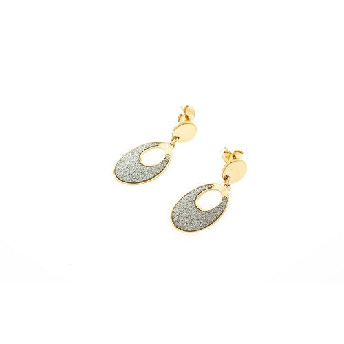 Edelstaal oorbellen met glitter en verguld met geel goud CLAUDIA