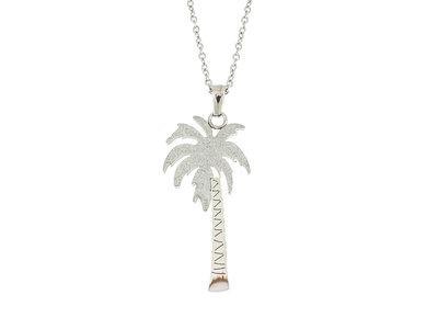 Edelstaal hanger palmboom motief en ketting NOEMIE