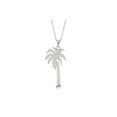Pendentif acier motif palmier avec chaine NOEMIE