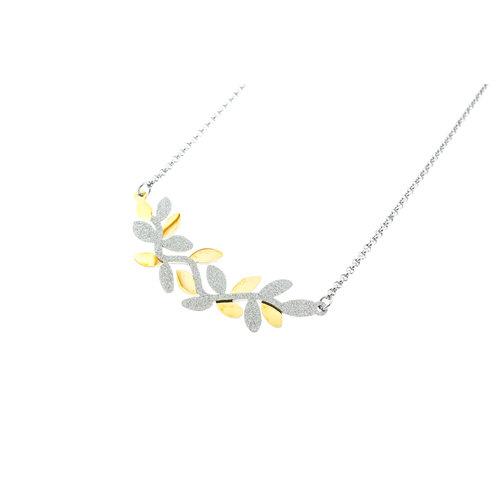 Pendentif avec chaine acier motif feuilles placage bicolore or jaune ROMINA