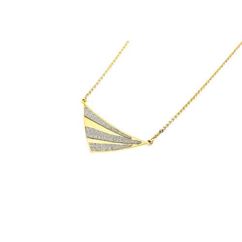 Edelstaal hanger met glitter en verguld met geel goud met ketting GWEN