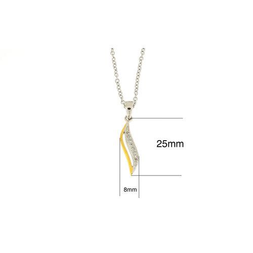 Plaqué bicolor hanger met zirconia en met ketting  MARILYN
