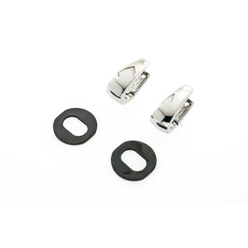 Boucles d'oreilles acier avec élément noir amovible CLAIRE