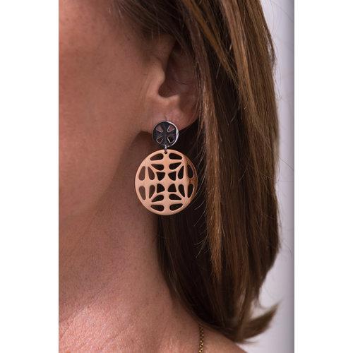 Boucles d'oreilles acier avec placage bicolore or rosé KENDALL
