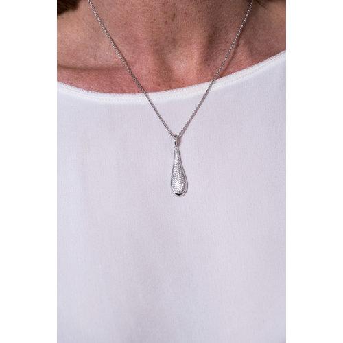 Zilver gerhodineerde hanger met zirconia en passende ketting DAHLIA