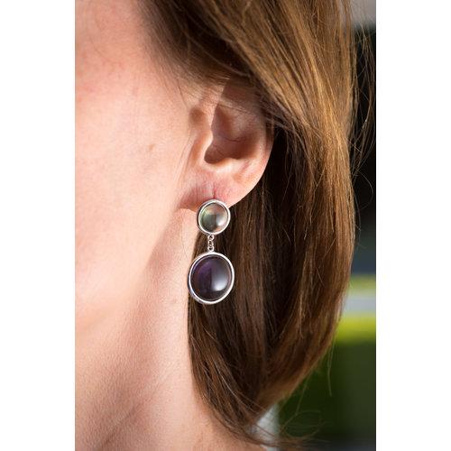 Boucles d'oreilles argent rhodié avec pierres de couleur ABBY