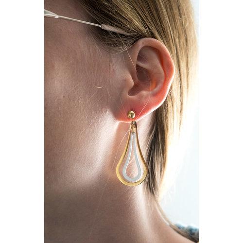 Boucles d'oreilles acier placage bicolore or jaune FRANCES
