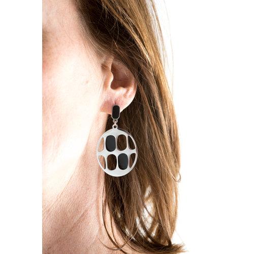 Boucles d'oreilles acier avec éléments noirs NATASHA