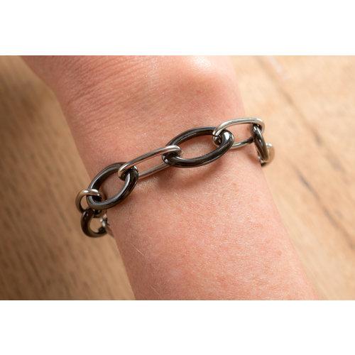 Bracelet acier avec céramique noire MANON