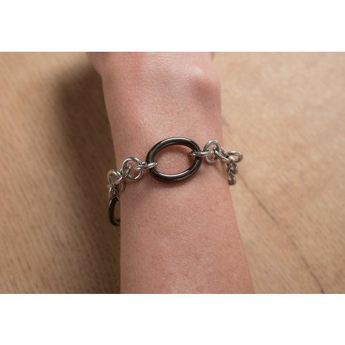 Edelstaal armband met zwarte delen CARMEN
