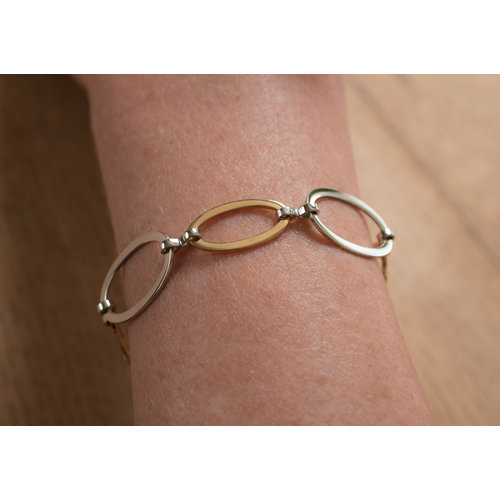 Bracelet acier placage bicolore or jaune HELEN