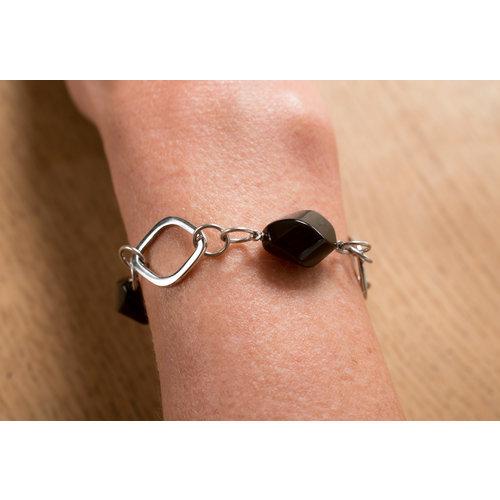 Bracelet acier avec onyx modèle KATYA