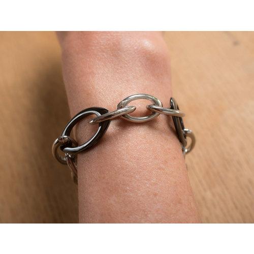 Bracelet acier avec éléments en céramique noire ALEXANDRA