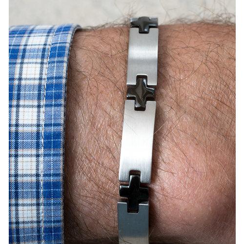 Bracelet acier avec des parties noires pour hommes HUGO