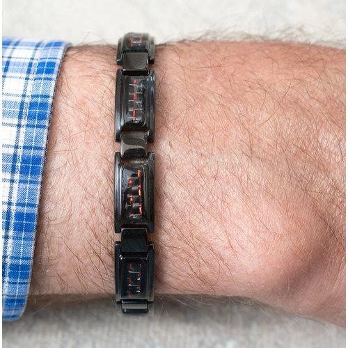 Bracelet acier pour hommes avec placage noir et carbone rouge BRIAN