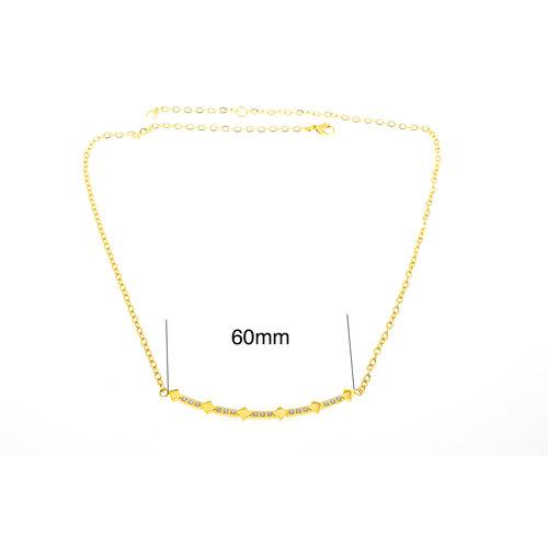 Collier acier avec cristaux et placage or jaune DEBORAH