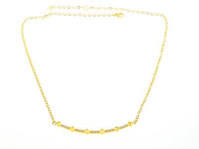 Edelstaal halsketting met kristallen geel goud verguld DEBORAH