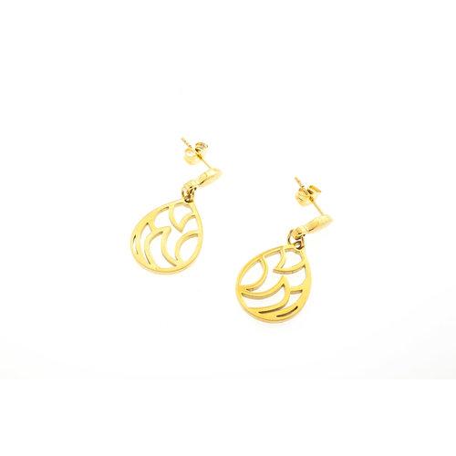 Boucles d'oreilles acier avec placage or jaune LISA