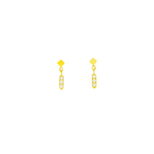 Boucles d'oreilles acier avec cristaux et placage or jaune MARGARET