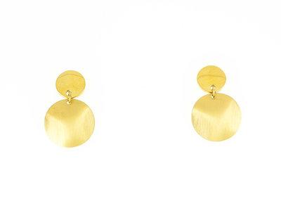Edelstaal oorbellen mat en verguld met geel goud AGNES