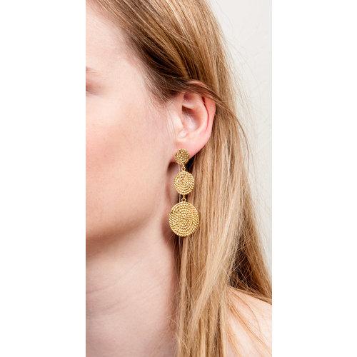 Edelstaal oorbellen verguld met geel goud CELESTE