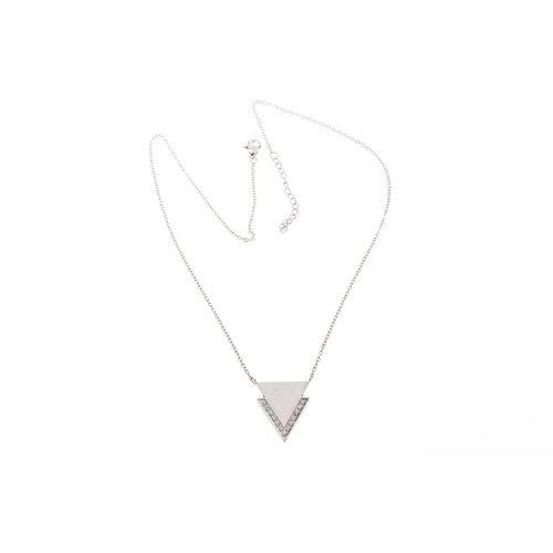 Edelstaal hanger met zirconia en ketting model MONA