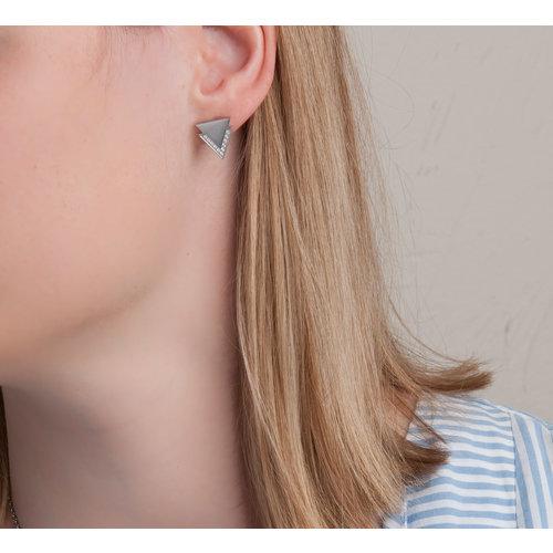 Edelstaal oorbellen met zirconia MIRTE
