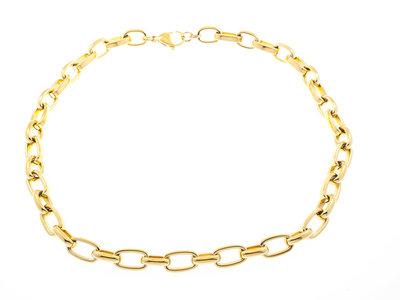 Edelstaal halsketting verguld met geel goud KIRSTEN