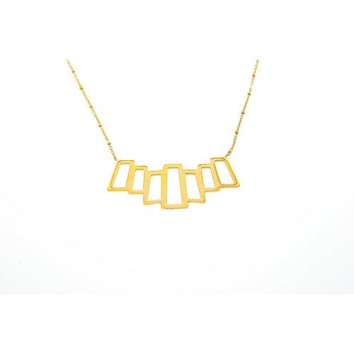 Edelstaal halsketting met brede hanger verguld met geel goud LUCY