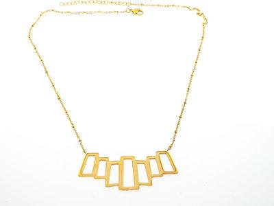 Collier acier avec pendentif large Placage or jaune LUCY