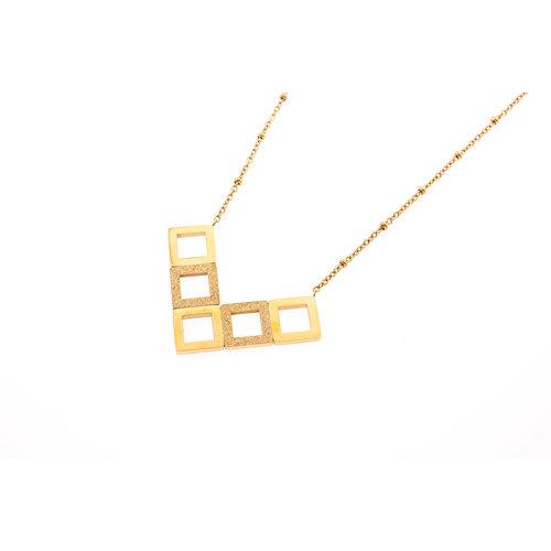 Edelstaal hanger met ketting verguld met geel goud PAULINE