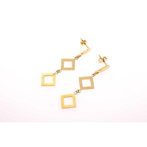 Edelstaal oorbellen mat en glanzend verguld met geel goud FIONA