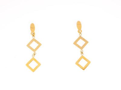 Boucles d'oreilles acier mat et brillant avec placage or jaune FIONA