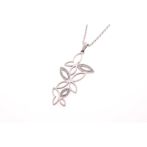 Pendentif acier avec cristaux et chaine FREYA