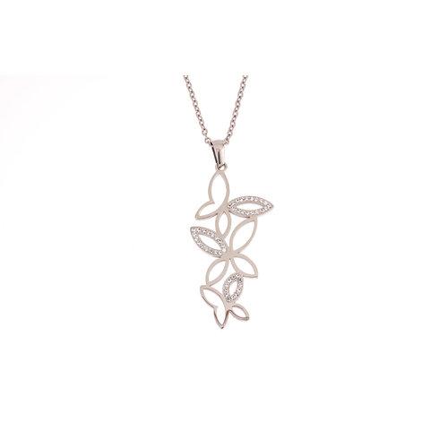 Edelstaal hanger met kristallen en met ketting FREYA