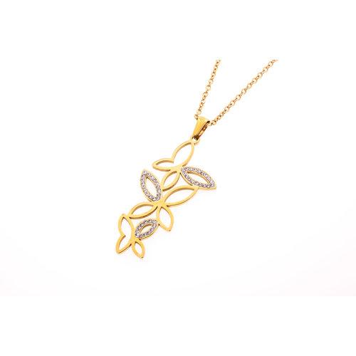 Edelstaal hanger met kristallen en met ketting verguld met geel goud FLEUR