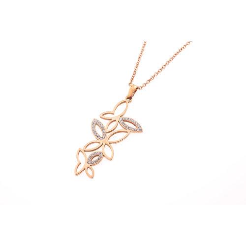 Edelstaal hanger met kristallen en met ketting verguld met rosé goud FRIDA