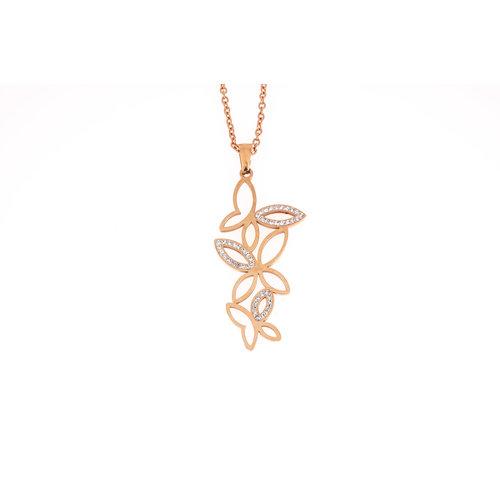 Pendentif acier avec des cristaux et chaine placage or rosé FRIDA