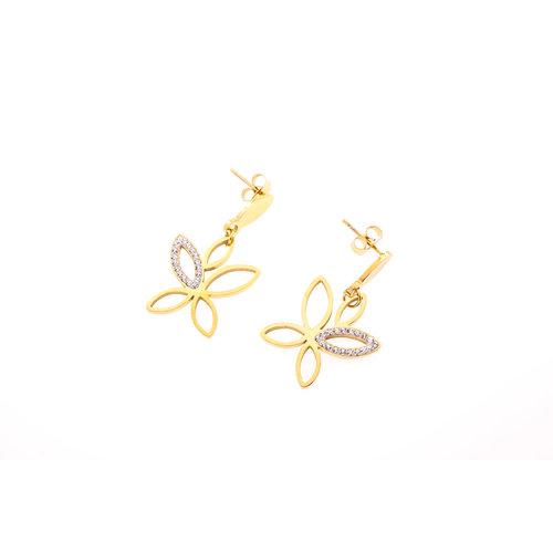 Edelstaal oorbellen met kristallen verguld met geel goud XAVIERA