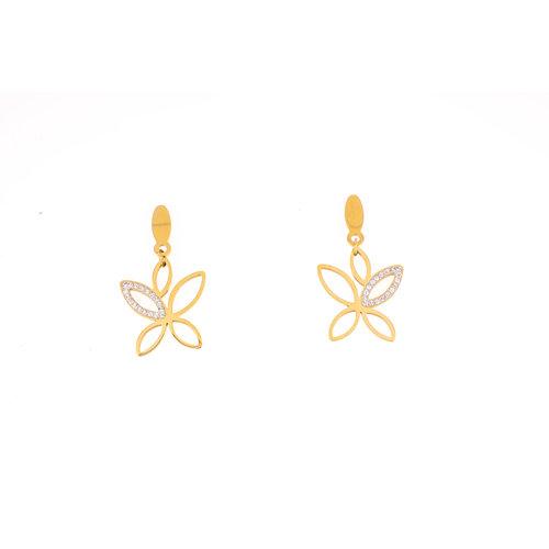 Boucles d'oreilles acier avec des cristaux placage or jaune XAVIERA