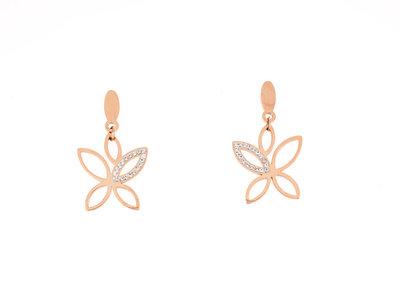 Edelstaal oorbellen met kristallen verguld met rosé goud XANTHE