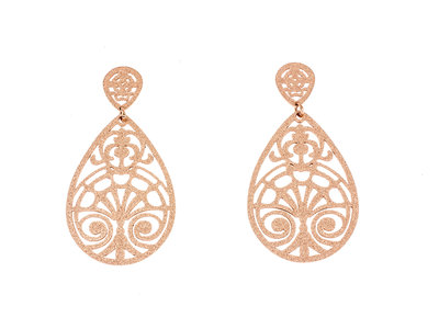Boucles d'oreilles acier avec placage or rosé KAIA